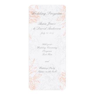 Coral Gray Floral Vintage Wedding Program 4x9.25 Paper Invitation Card