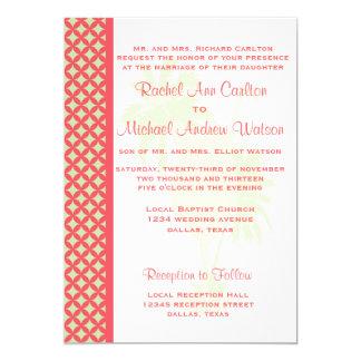 Coral & Green Beach Wedding Invitations
