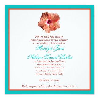 "Coral Hibiscus and Aqua Wedding Invitation 5.25"" Square Invitation Card"