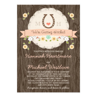 Coral Horseshoe Heart Western Wedding Announcement