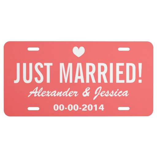Coral Just married license plate for wedding car License Plate