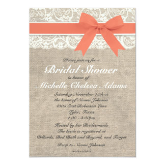 Coral Lace Burlap Bridal Shower Invitation