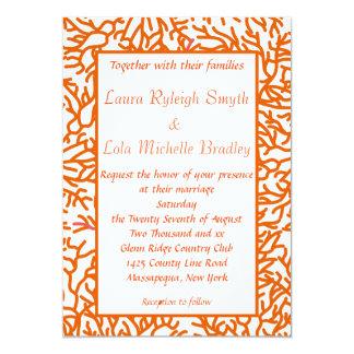 Coral Lesbian Summer Wedding Invitations