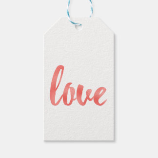 Coral love favor tags, foil, vertical gift tags