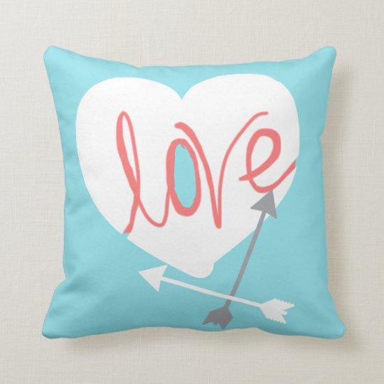Coral Love Heart Arrows Throw Pillow Cushion