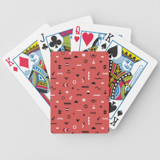 Coral Memphis symbol pattern playing cards