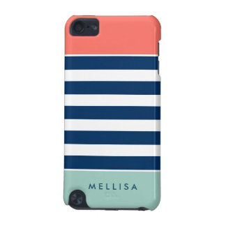 Coral Mint Navy White Stripes - Trendy Stylish iPod Touch (5th Generation) Cases
