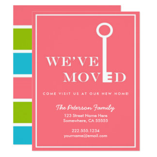 Coral Modern Stripes New Home Moving Announcement