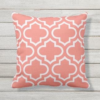 Coral Moroccan Quatrefoil Outdoor Pillow