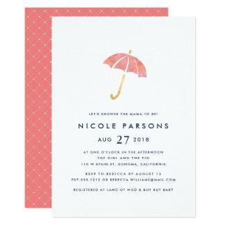 Coral & Navy Umbrella Baby Shower Invitation