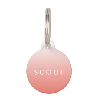 Coral Ombre Gradient Pet Tag