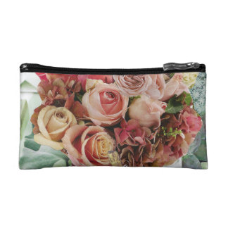 Coral on Misty Green Makeup Bags