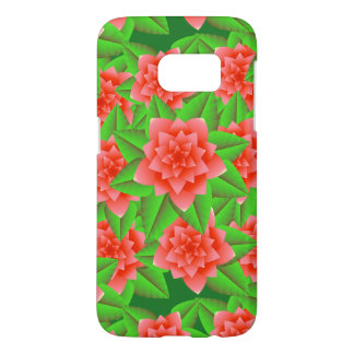 Coral Orange Camellias and Green Leaves
