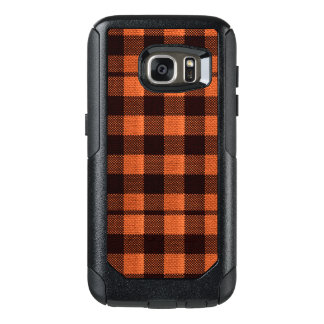 Coral Orange Gingham Checkered Pattern Burlap Look OtterBox Samsung Galaxy S7 Case