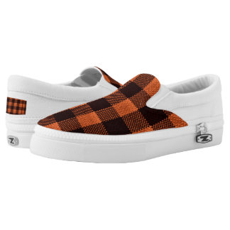 Coral Orange Gingham Checkered Pattern Burlap Look Slip On Shoes