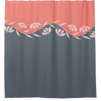 Coral Orange Peach Grey Floral Shower Curtain