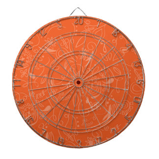 Coral Orange, Salmon, Floral Swirls Dartboard With Darts