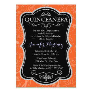 Coral Orange, Salmon, Floral Swirls Personalized Invites