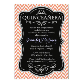 Coral Orange, Salmon, White, Chevron Stripes Invitation