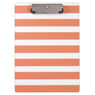 Coral Orange, Salmon, Wide Stripes Clipboard