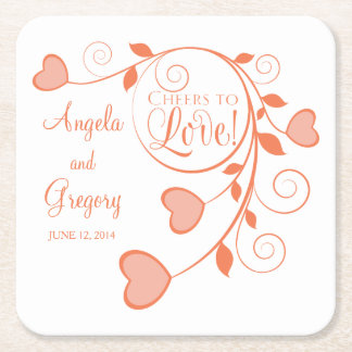 Coral Orange White Cheers to Love Heart Wedding Square Paper Coaster