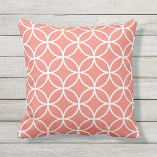 Coral Outdoor Pillows - Circle Trellis