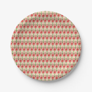 Coral pansies - retro wallpaper pattern 7 inch paper plate