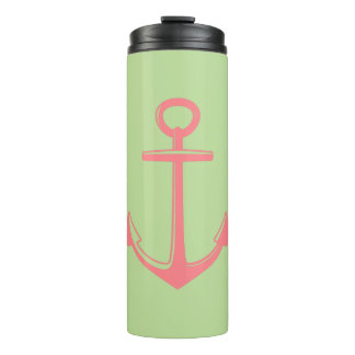 Coral Pink Anchor on Mint Green Personalized Thermal Tumbler