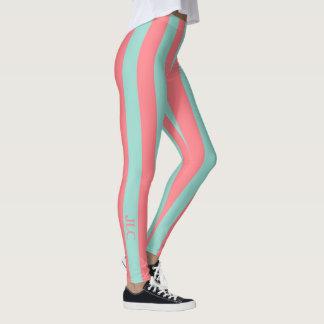 Coral Pink and Cool Aqua Stripe Monogram Leggings