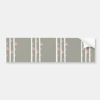 Coral Pink and Gray Birds and Birch Trees Bumper Sticker