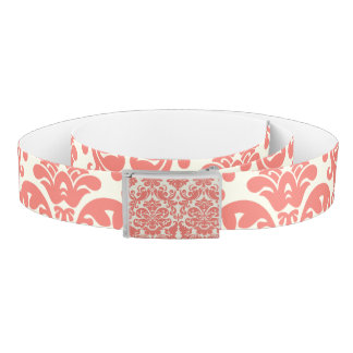 Coral Pink and Ivory Elegant Damask Pattern Belt