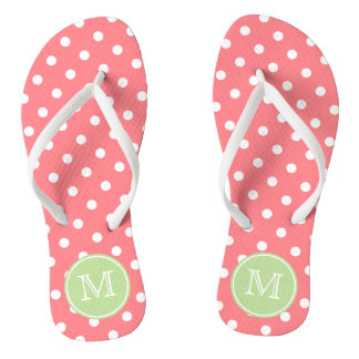 Coral Pink and White Polka Dots with Mint Green Jandals