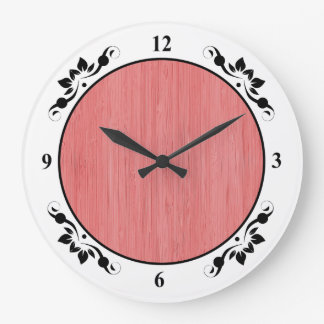 Coral Pink Bamboo Wood Grain Look Large Clock