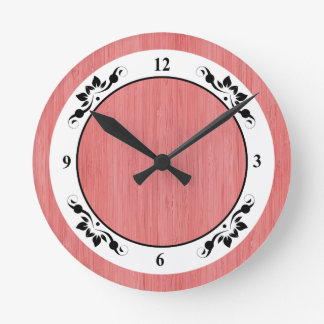Coral Pink Bamboo Wood Grain Look Round Clock