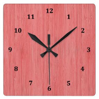 Coral Pink Bamboo Wood Grain Look Square Wall Clock