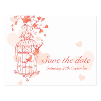 Coral pink bird cage wedding save the date card