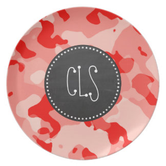 Coral Pink Camo Camouflage Retro Chalkboard Plate