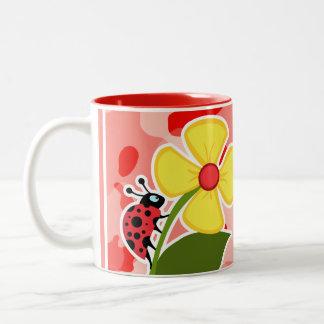 Coral Pink Camo; Ladybug Two-Tone Coffee Mug