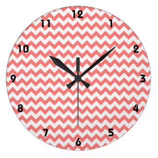 Coral Pink Chevron Wall Clock