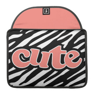 Coral Pink Cute on  Zebra Stripes Sleeve For MacBook Pro