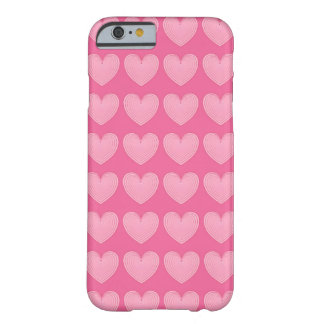 Coral pink hearts, deeper pink background barely there iPhone 6 case