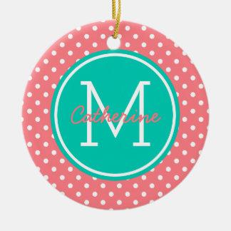 Coral Pink Island Sea and White Polka Dot Monogram Christmas Ornament