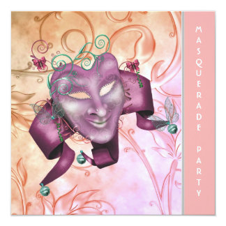Coral Pink Masquerade Party Invitations