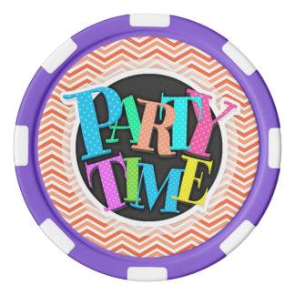 Coral Pink, Orange, White Chevron Stripes Poker Chips