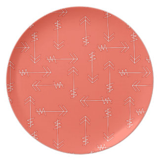 Coral Pink Organic Arrows Plate