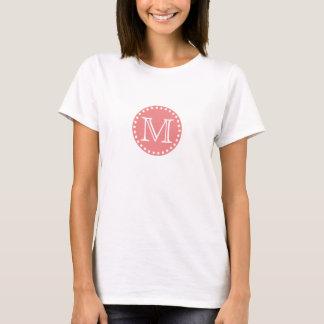 Coral Pink Polka Dot Monogram T-Shirt