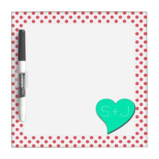 Coral Pink Polka Dots-Monogram by Shirley Taylor Dry Erase Board