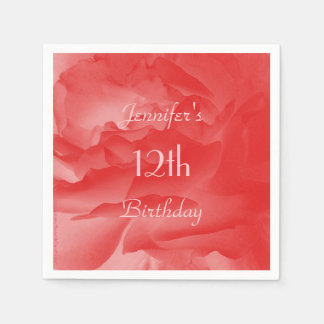 Coral Pink Rose Paper Napkins, 12th Birthday Paper Napkins