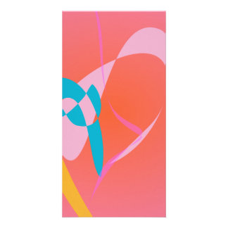 Coral Pink Simple Abstract Art Photo Card