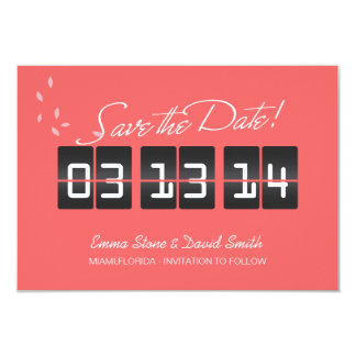 Coral Pink Spring Wedding Save the Date Cards